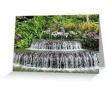 Waterfall, Sculpture & Orchids. Greeting Card