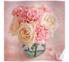 Beautiful bouquet of white roses and pink carnations Poster