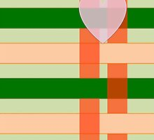 PINK HEART ON PEACH & GREEN STRIPES by Rose Frankcombe