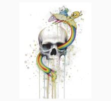 Adventure through Time and Face with Jake, Finn, and Lady Rainicorn | Skull Watercolor Kids Clothes
