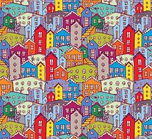 Cityscape seamless pattern. Sketch.  by EkaterinaP