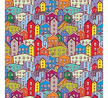 Cityscape seamless pattern. Sketch.  Photographic Print