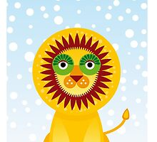 Funny cartoon lion and sky background.  by EkaterinaP