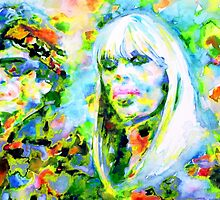 LOU REED and NICO - watercolor portrait by lautir
