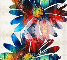 Colorful Daisy Art - Hip Daisies - By Sharon Cummings by Sharon Cummings