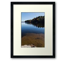 Golden Ripples Bedrock - Fall Mood Reflection   Framed Print
