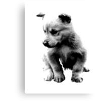 Sad Face Puppy Dog Digital Engraving Canvas Print