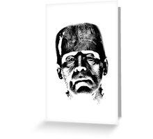 Frankenstein's Monster. Spooky Halloween Digital Engraving Image Greeting Card