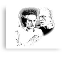 Frankenstein's Monster and Bride of Frankenstein. Spooky Halloween Digital Engraving Image Canvas Print