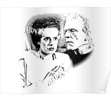Frankenstein's Monster and Bride of Frankenstein. Spooky Halloween Digital Engraving Image Poster