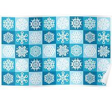 Checkered Snowflakes Poster