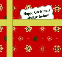 Mother-in-law red Christmas parcel card by julesdesigns
