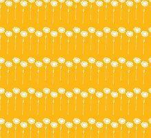Bright Yellow Daisy Stripes by Sarah Price