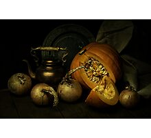 Still life with pumpkin and onions Photographic Print