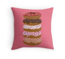 Donuts Stacked on Cherry Throw Pillow