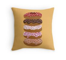 Donuts Stacked on Yellow Throw Pillow