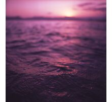 Mediterranean sea water off Ibiza Spain in surreal purple sunset evening dusk colors film analog photo Photographic Print