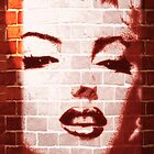 Marilyn Street Art on Brick Wall by BluedarkArt