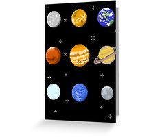 Pixel Planets Greeting Card