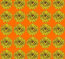 Yellow Flowers on Orange Background by Greenbaby