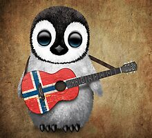 Baby Penguin Playing Norwegian Flag Guitar by Jeff Bartels