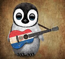 Baby Penguin Playing Paraguay Flag Guitar by Jeff Bartels