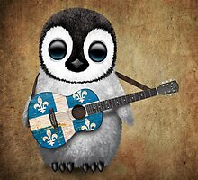 Baby Penguin Playing Quebec Flag Guitar by Jeff Bartels
