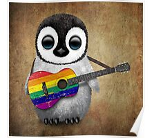 Baby Penguin Playing Gay Pride Rainbow Flag Guitar Poster