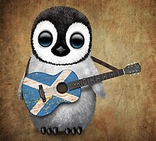 Baby Penguin Playing Scottish Flag Guitar by Jeff Bartels