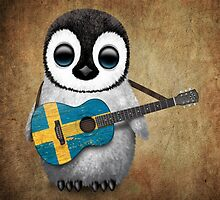 Baby Penguin Playing Swedish Flag Guitar by Jeff Bartels