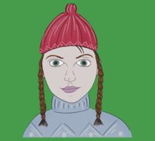 Cute Girl with Big Green Eyes and a Red Hat on a Snowy Scene with her Skis  Kids Clothes