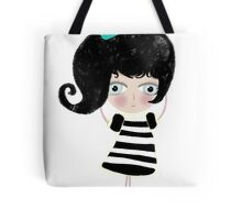 Lovely love Print Illustration Doll surprise Black and white dress black shoes and hair strawberry muffin flavored illustration  Tote Bag