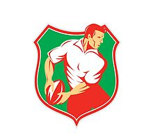 Rugby Player Passing Ball Shield Retro by patrimonio