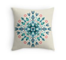 Watercolor Lotus Mandala in Teal & Salmon Pink Throw Pillow
