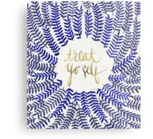 Treat Yo Self – Gold & Navy Metal Print