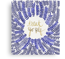 Treat Yo Self – Gold & Navy Canvas Print