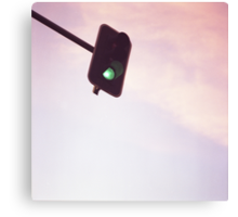 Green traffic go light signal and sky still life blue square Hasselblad medium format film analog photograph Canvas Print
