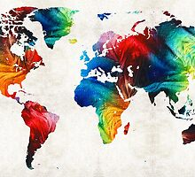 World Map 19 - Colorful Art By Sharon Cummings  by Sharon Cummings
