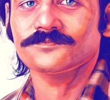 Young Bill Murray mustache digital painting  Sticker