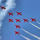 The Red Arrows - Eagle Roll - Farnborough 2014 by Colin J Williams Photography