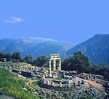 Remains of the Shrine of Athena and the Tholos, Delphi, Greece by Priscilla Turner