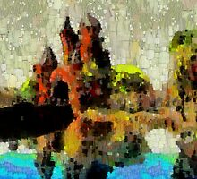 A digital painting of  Haarlem-Amsterdam Gate, Amsterdam, Netherlands - squared in DAP by Dennis Melling
