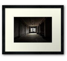 Dark and abandoned interior of a power plant Framed Print