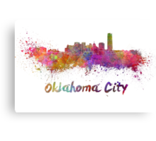 Oklahoma City skyline in watercolor Canvas Print
