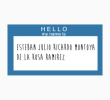 Hello My Name Is: Esteban Julio Ricardo Montoya De La Rosa Ramirez by Natalie Schweitzer