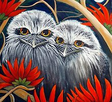 Tawny Frogmouth Owls in a Red Coral Tree by Sheridon Rayment. by BlueMoonOwl