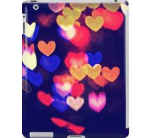 Colorful Hearts Bokeh Vintage Blue Yellow Orange V iPad Case/Skin