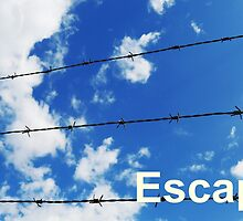 escape wording on blue sky background by newbietraveller