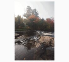 Foggy Fall Waterscape - the Rushing River Kids Clothes