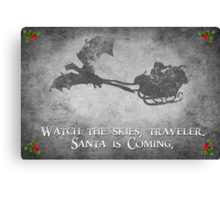 Skyrim Christmas Card: Watch the Skies Traveler Canvas Print